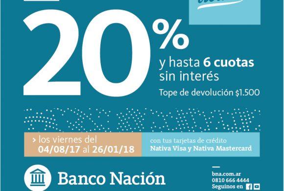 Viernes: -20{d37ac79ab99b18d76ac10b3a1f8cd6706967b4fdca935389bea72d872fdea16b} de descuento con Banco Nación y hasta 6 cuotas sin interés.