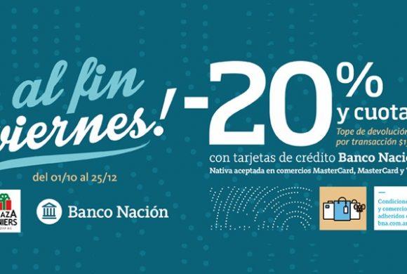 viernes: -20% de descuento con Banco Nación